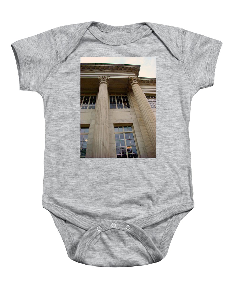 Baby Onesie featuring the photograph Pillars And Windows by Cathy Anderson