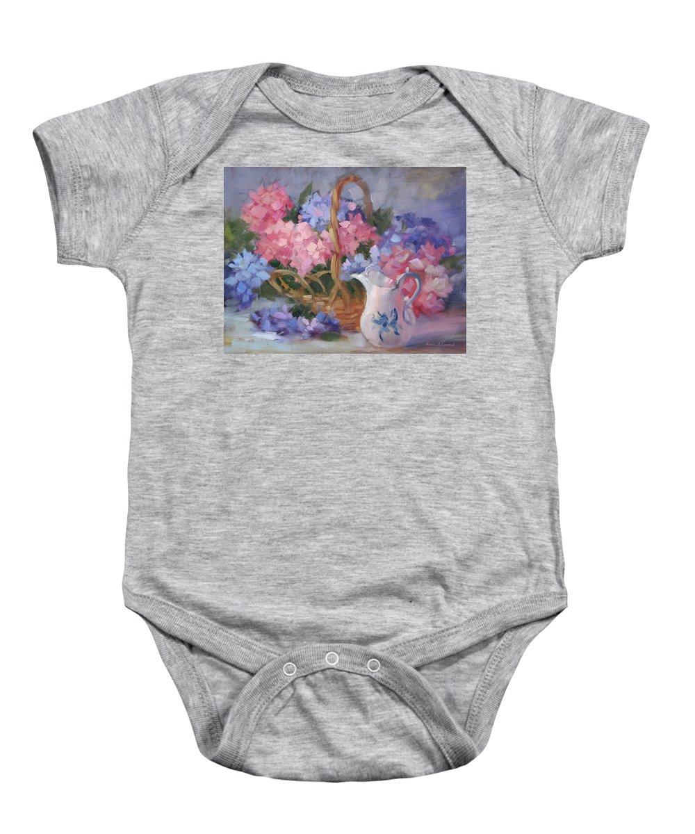 Pink Hydrangeas Baby Onesie featuring the painting Pink And Blue Hydrangeas by Karin Leonard