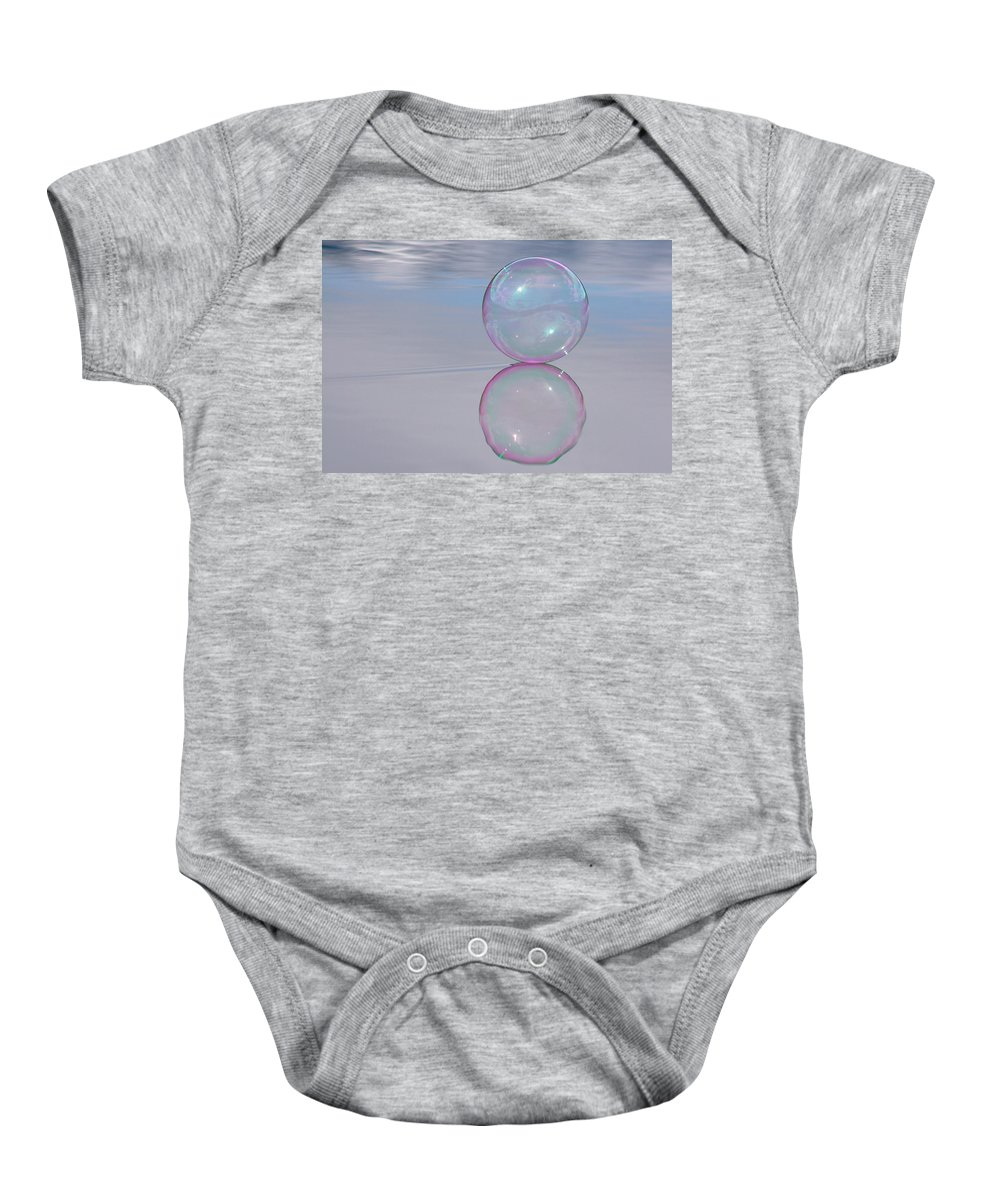 Bubble Baby Onesie featuring the photograph Pink Bubble On Grey by Cathie Douglas
