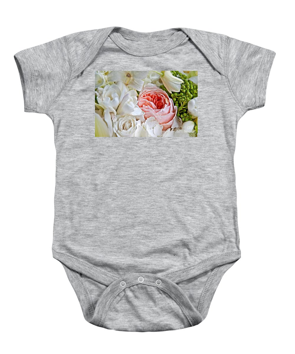 Flowers Baby Onesie featuring the photograph Pink English Rose Among White Roses Art Prints by Valerie Garner