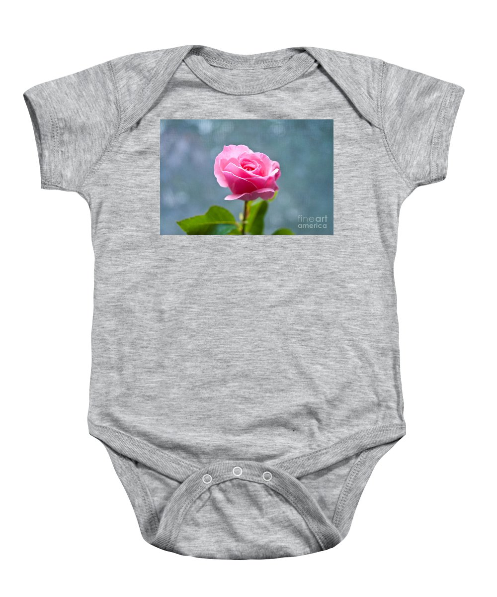Pink Rose Baby Onesie featuring the photograph Pink Rose by Steven Dunn