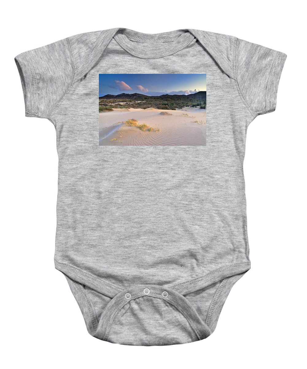 Sunset Baby Onesie featuring the photograph Pink Sunset At The Desert by Guido Montanes Castillo