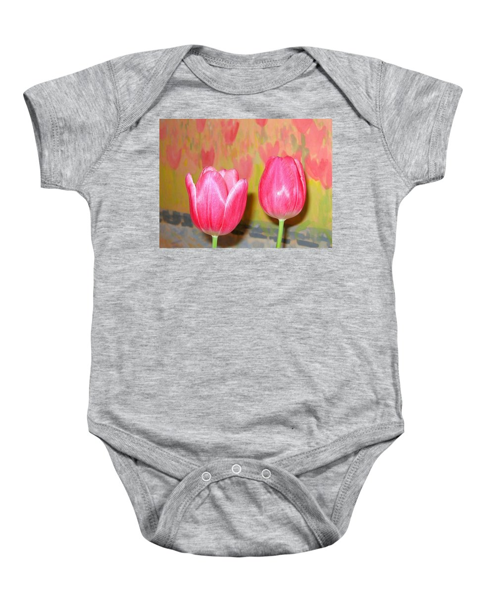 Pink Tulips Baby Onesie featuring the photograph Pink Tulips by Will Borden