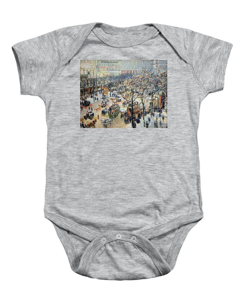Boulevard Des Italiens Baby Onesie featuring the photograph Pissarro's Boulevard Des Italiens In Morning Sunlight by Cora Wandel