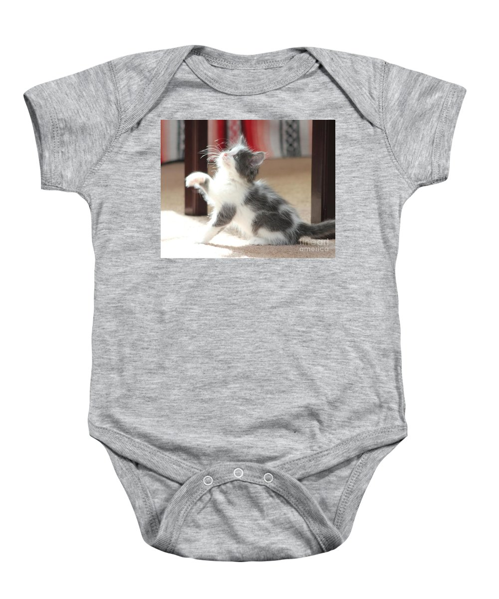 Kitten Baby Onesie featuring the photograph Playing Kitten by Michelle Powell