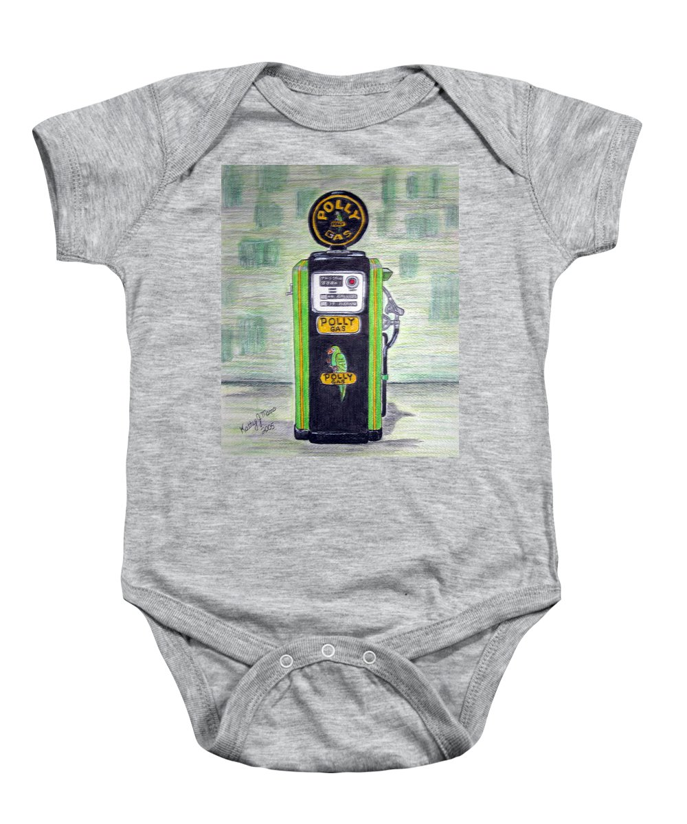 Parrot Baby Onesie featuring the painting Polly Gas Pump by Kathy Marrs Chandler