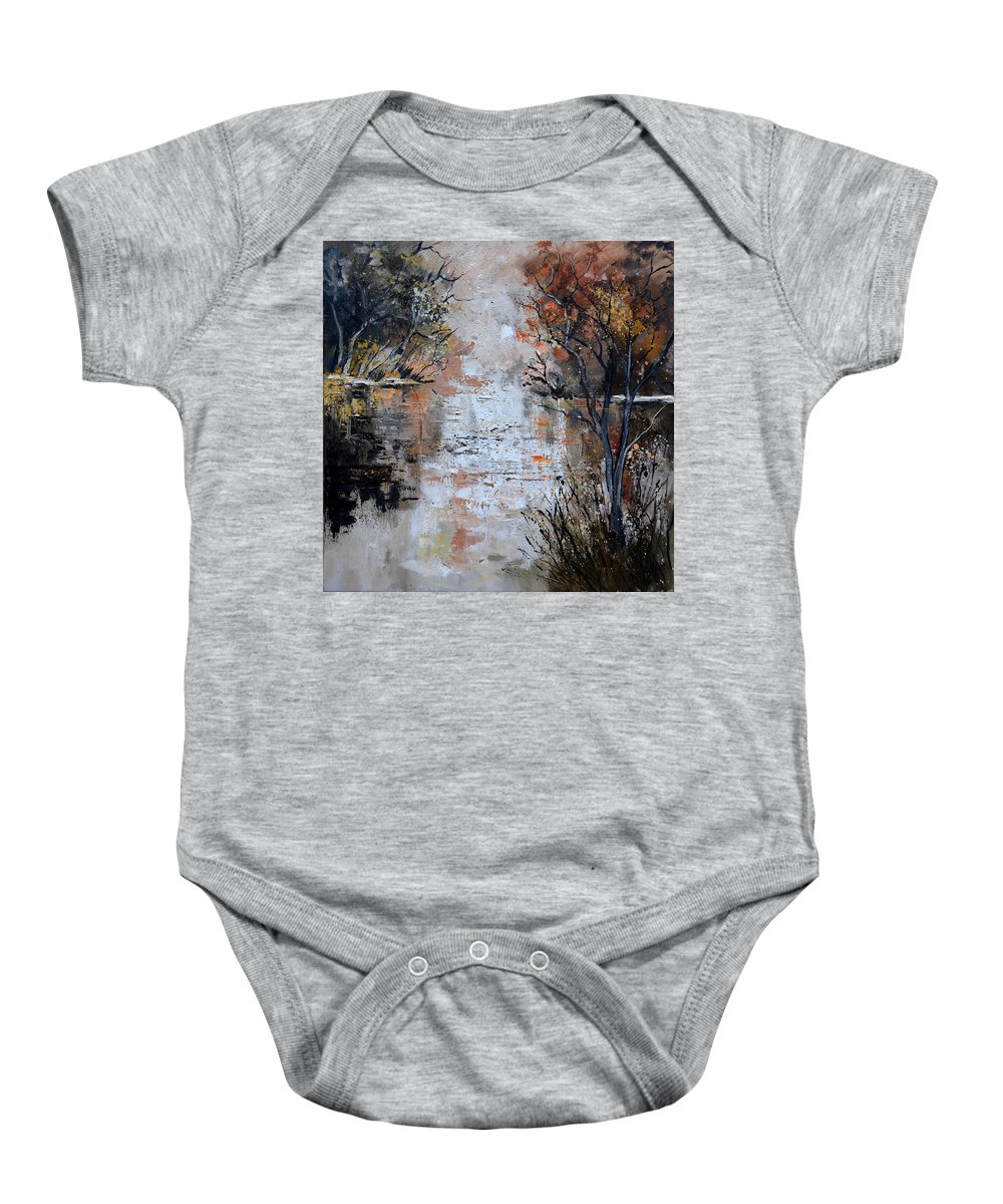Landscape Baby Onesie featuring the painting Pond 885110 by Pol Ledent