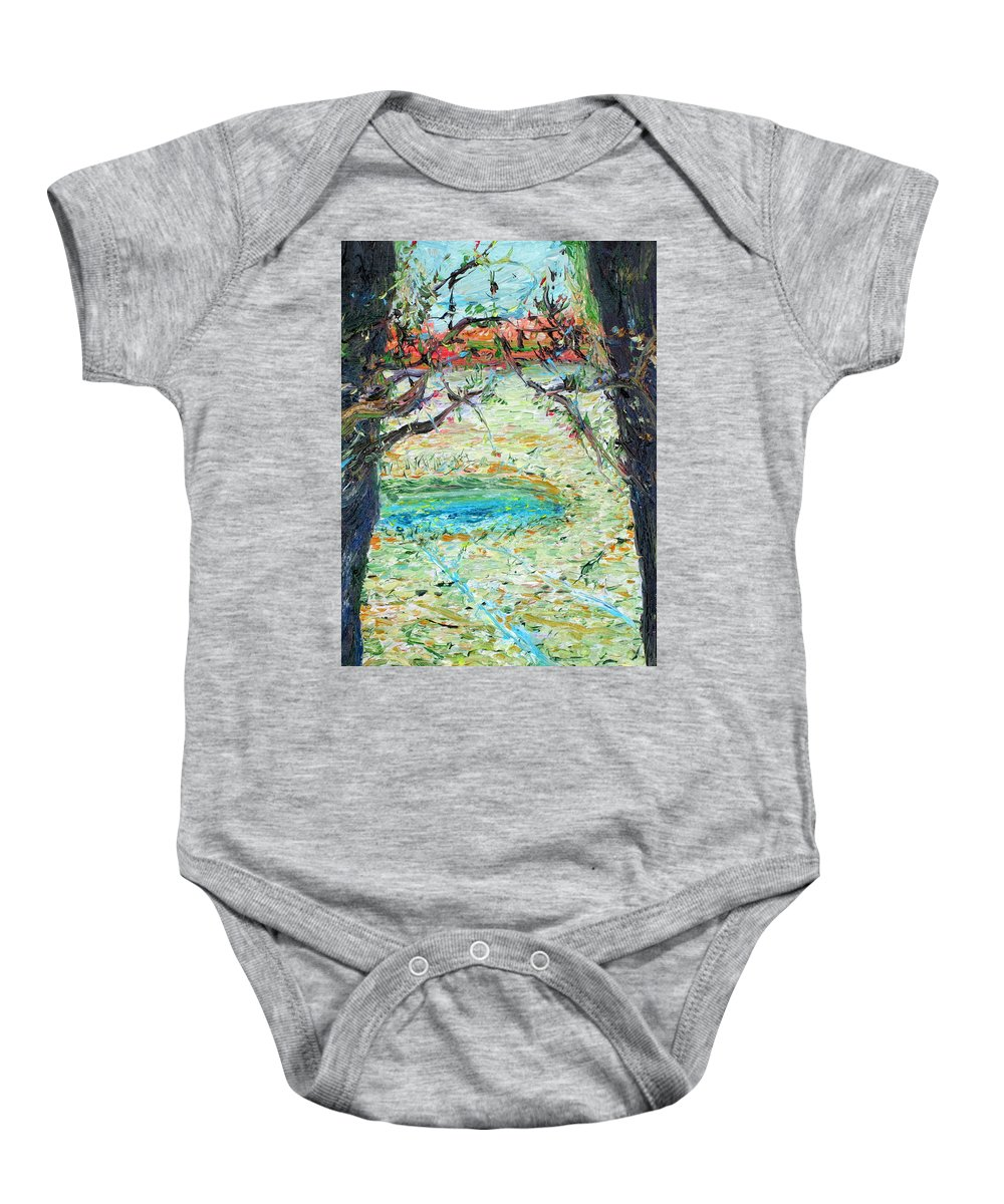 Pond Baby Onesie featuring the painting Pond by Fabrizio Cassetta