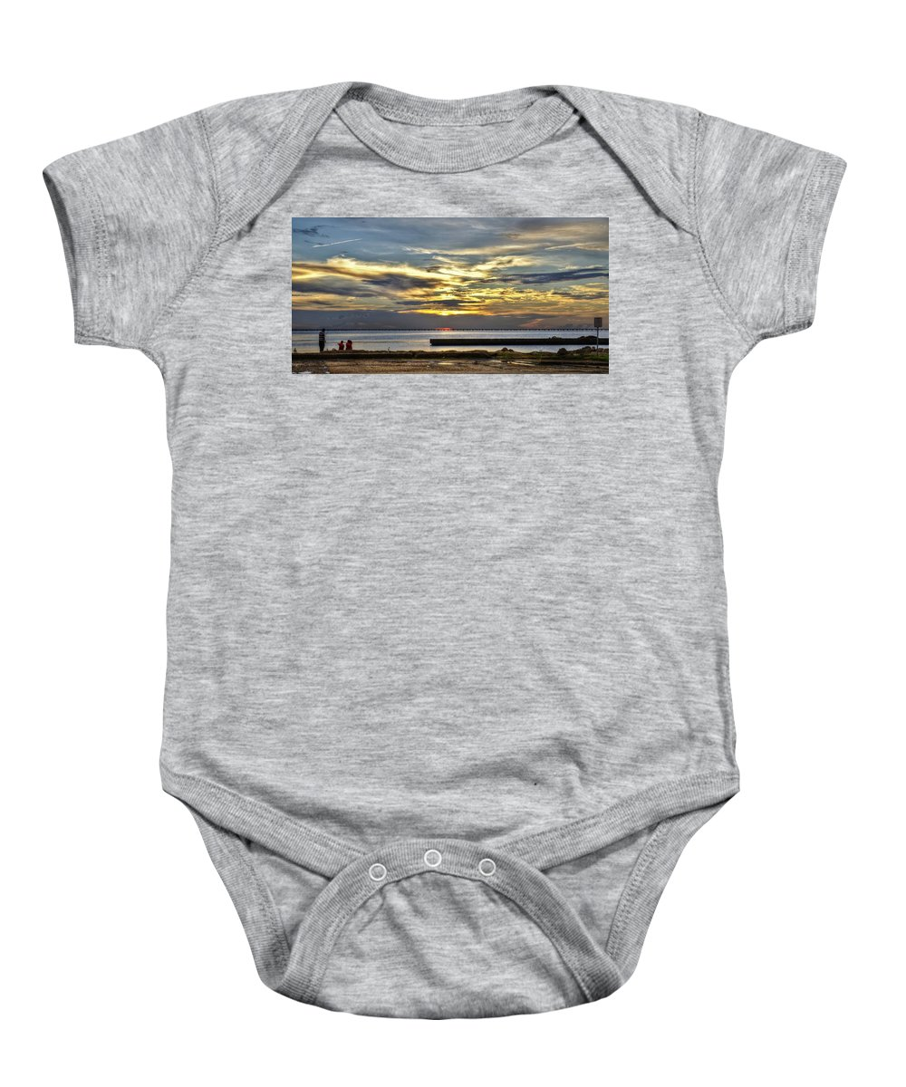 New Orleans Baby Onesie featuring the photograph Pontchartrain Sunset by William Morgan