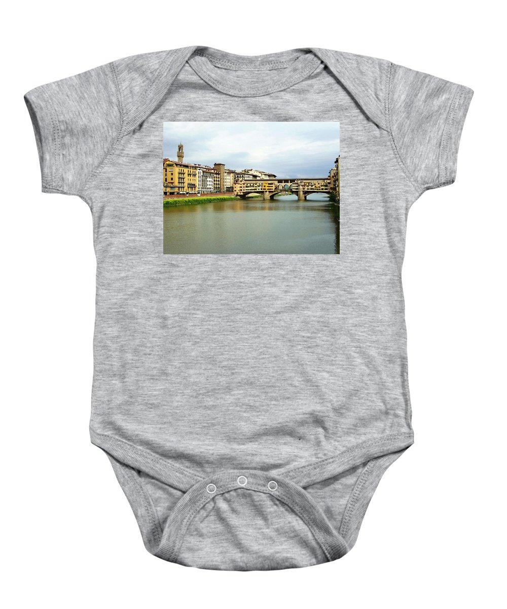 Ponte Vecchio Baby Onesie featuring the photograph Ponte Vecchio 1 by Ellen Henneke