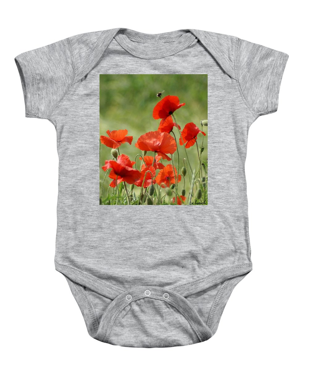 Poppies Baby Onesie featuring the photograph Poppies 1 by Carol Lynch