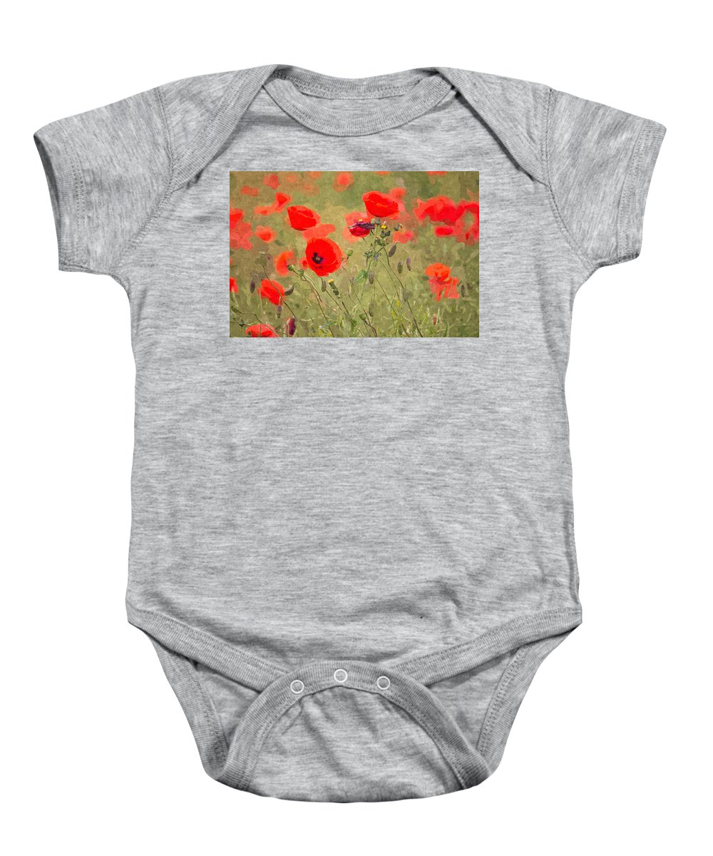 Remembrance Baby Onesie featuring the photograph Poppies Viii by David Pringle