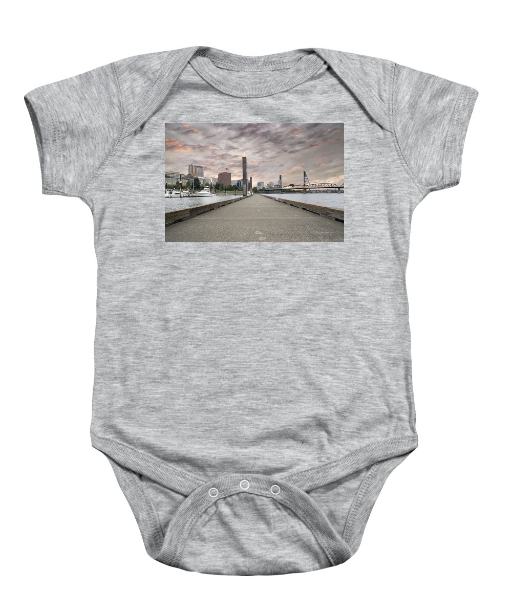Portland Baby Onesie featuring the photograph Portland Oregon Downtown Skyline By The Marina At Sunset by Jit Lim