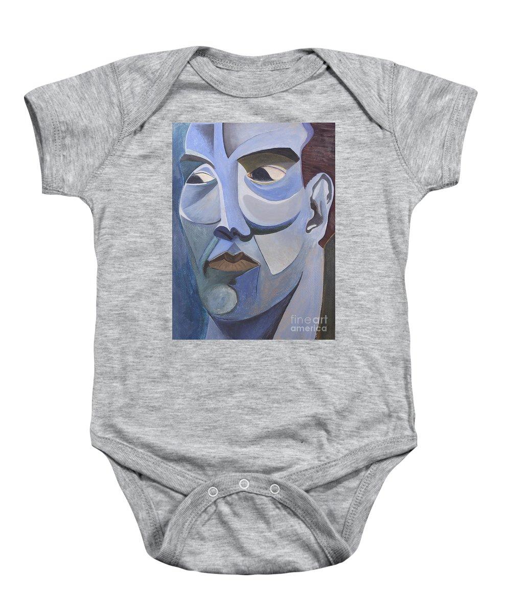 Portrait Baby Onesie featuring the painting Portrait In Blue by Aaron Joslin