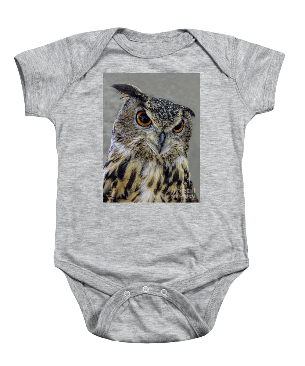 Great Horned Owl Baby Onesie featuring the photograph Portrait Of An Owl by Jennie Breeze