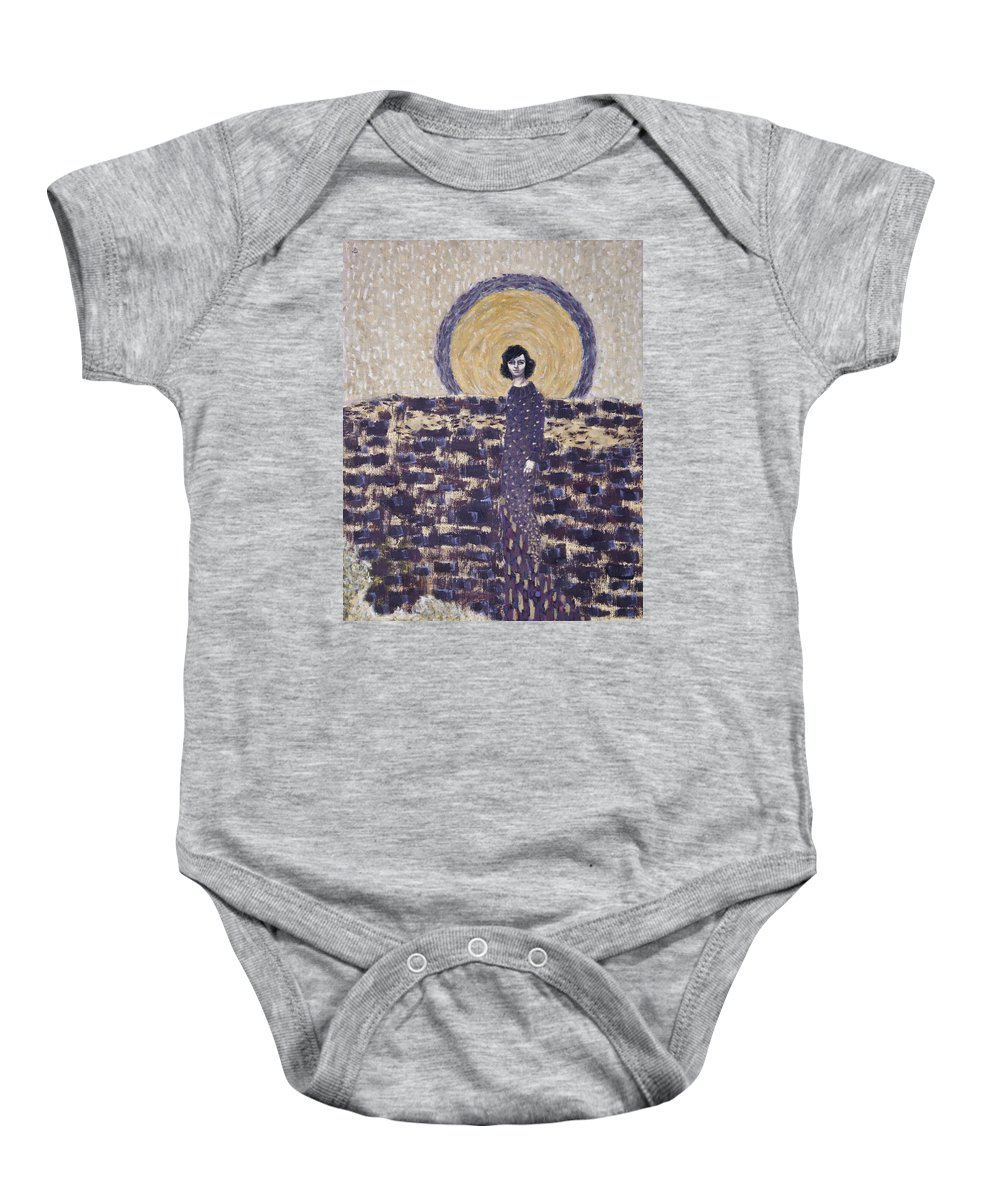 Seth Baby Onesie featuring the painting Portrait Of The Artist's Mother by Seth Angle