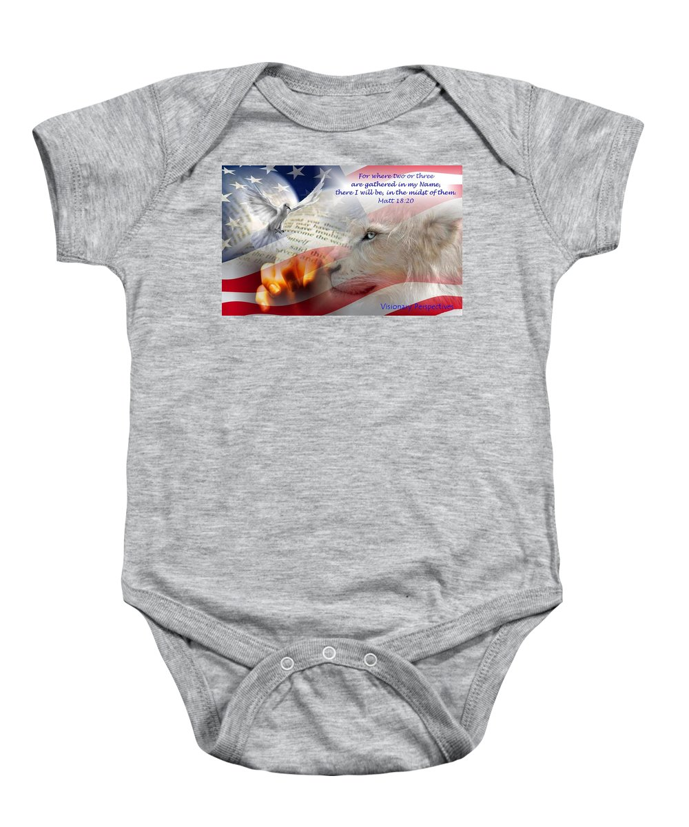 Prayer Baby Onesie featuring the digital art Pray For Our Nation by Jewell McChesney