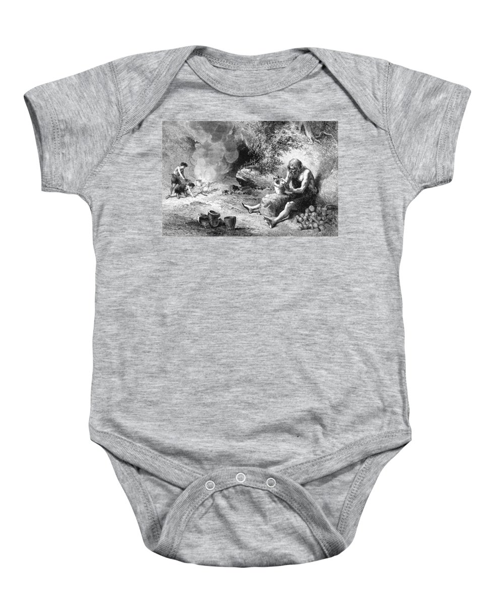 Stone Age Baby Onesie featuring the photograph Prehistoric Potter by British Library
