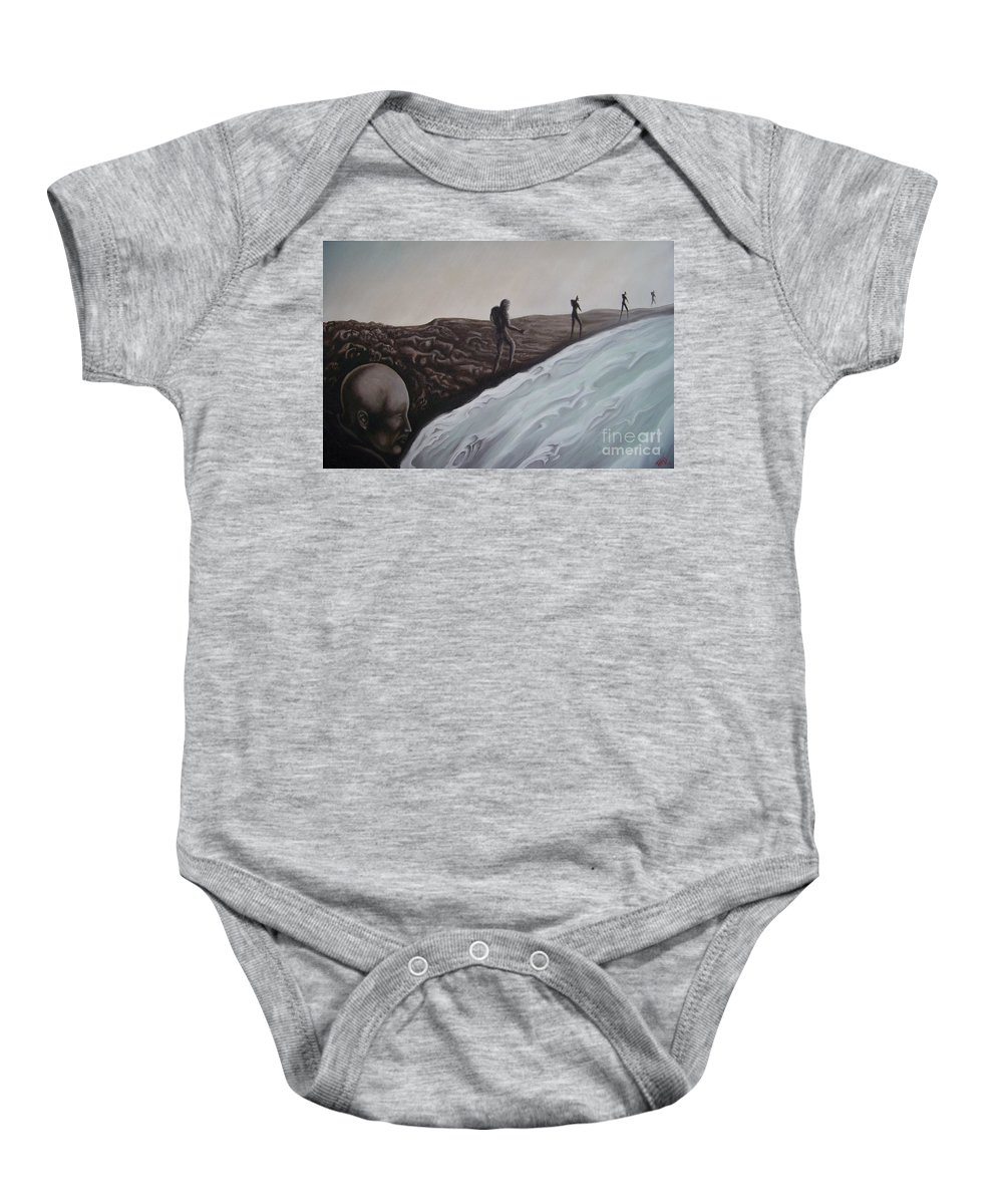 Tmad Baby Onesie featuring the painting Premonition by Michael TMAD Finney