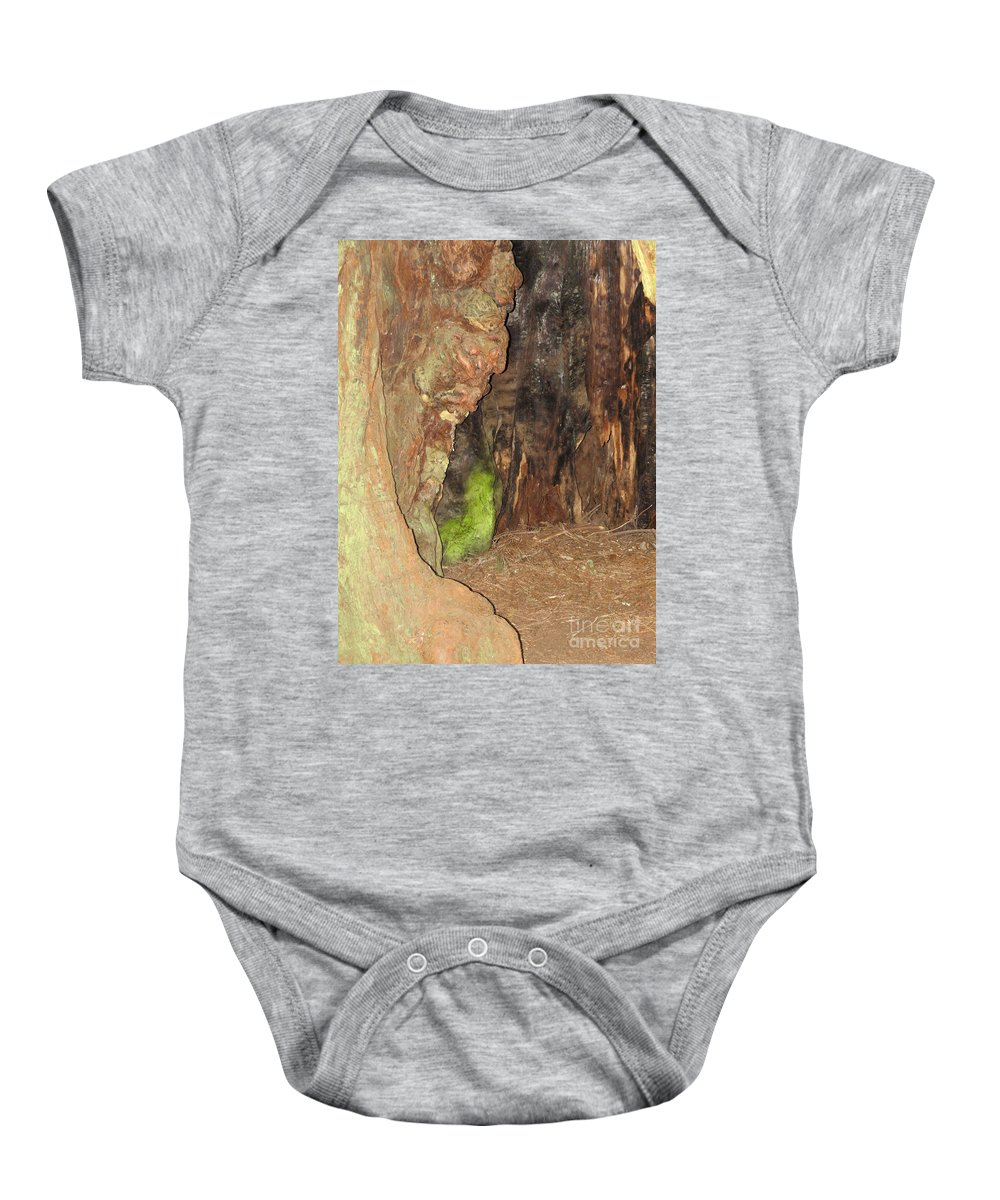 Face Baby Onesie featuring the photograph Profile Face In Tree by Mary Mikawoz
