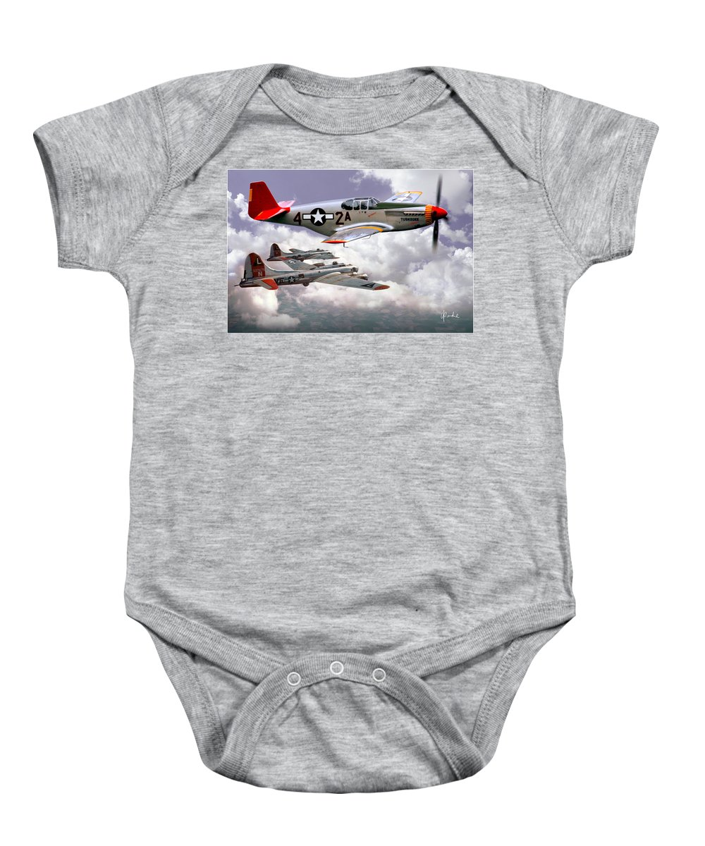 Redtails Baby Onesie featuring the photograph Protecting The Heavies by Craig Purdie