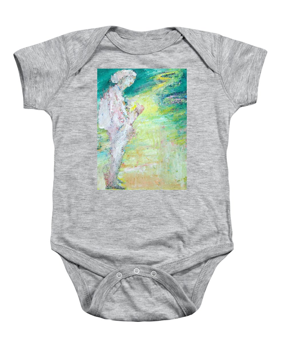 Hitchhiker Baby Onesie featuring the painting Psychedelic Hitchhiker by Fabrizio Cassetta