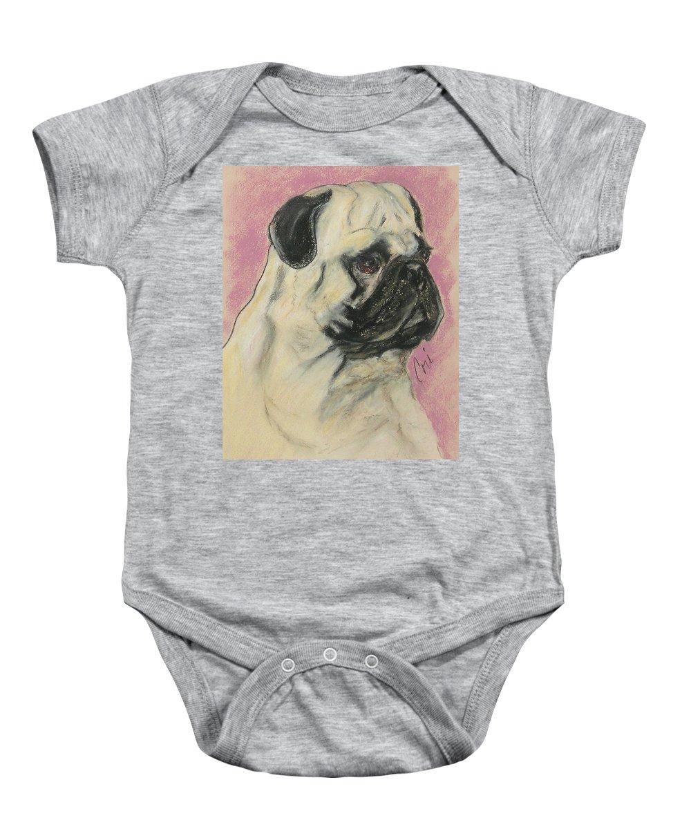 Pug Baby Onesie featuring the drawing Pugnacious by Cori Solomon