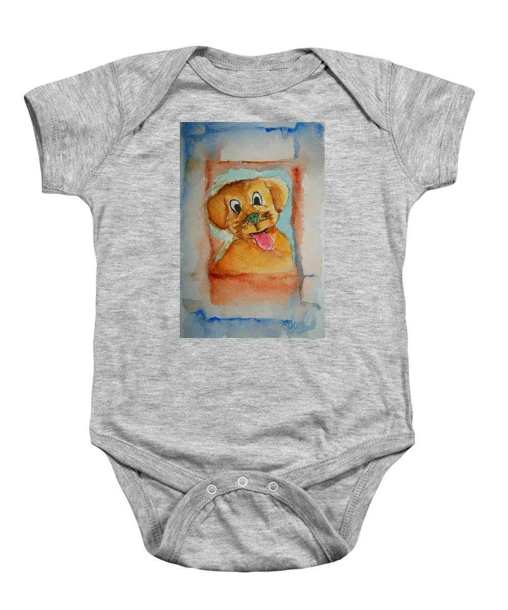Puppy Baby Onesie featuring the painting Puppy by Elaine Duras