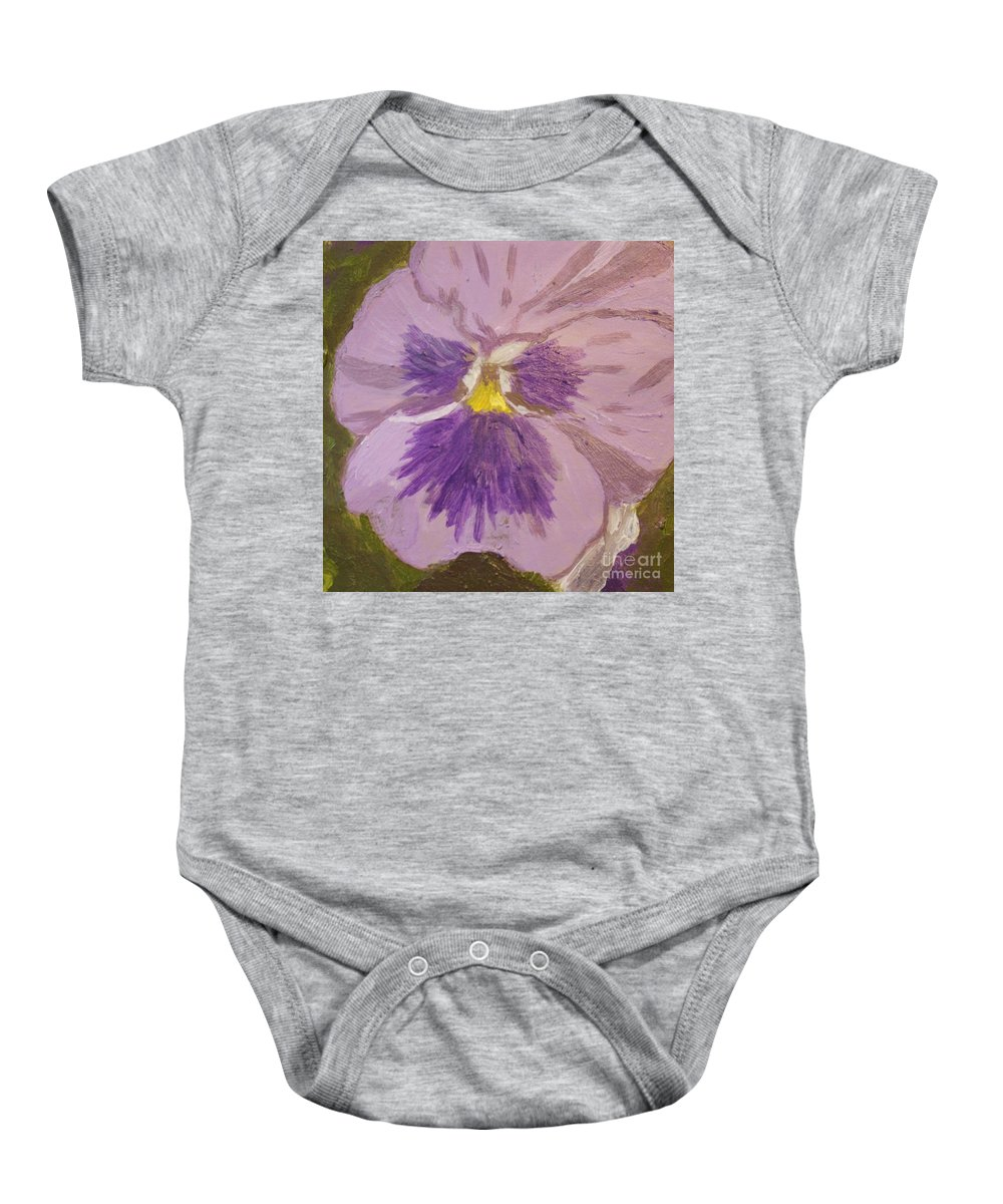 Purple Baby Onesie featuring the painting Purple Pansy 1 by Vicki Maheu