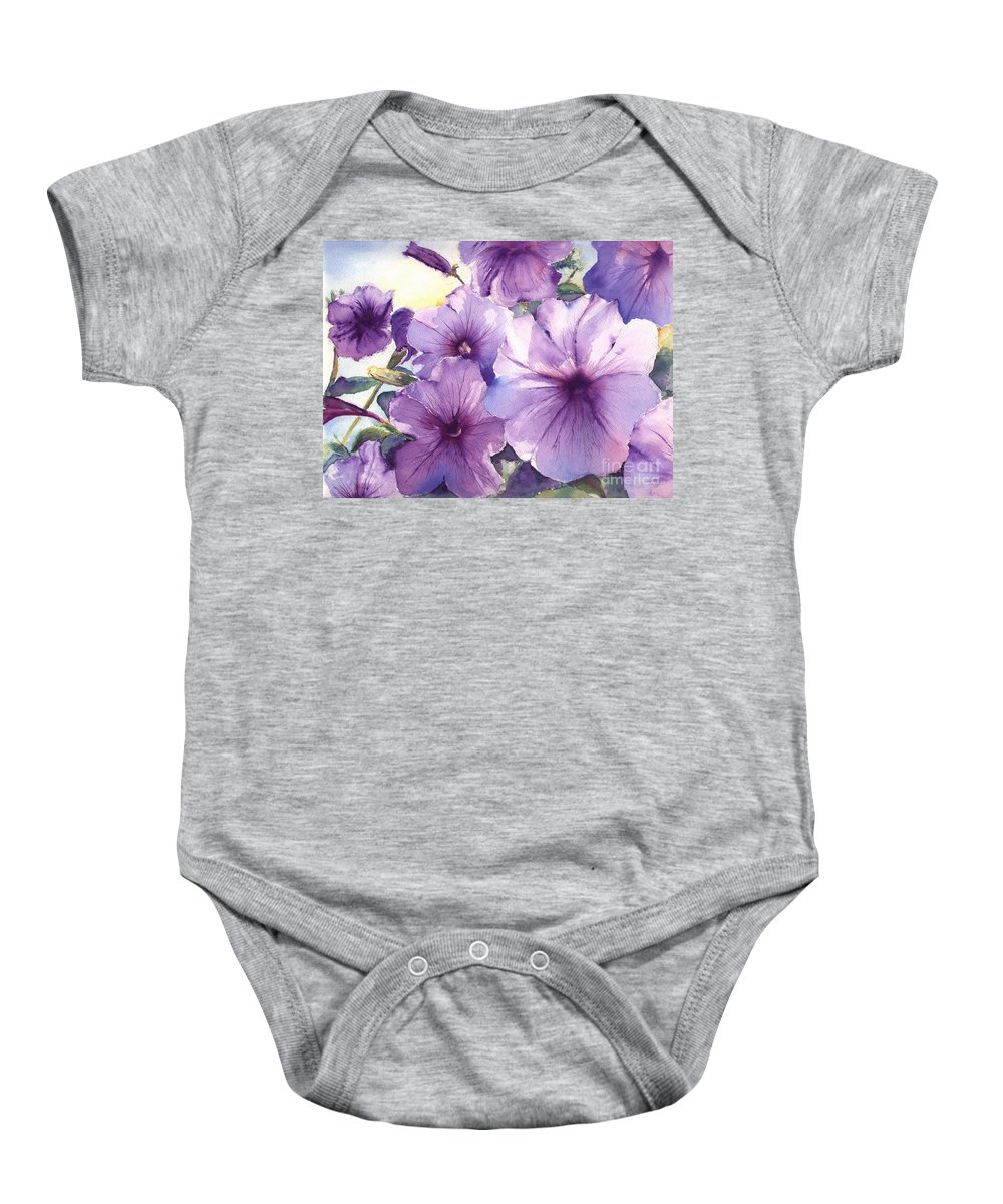Purple Baby Onesie featuring the painting Purple Profusion by Patricia Henderson