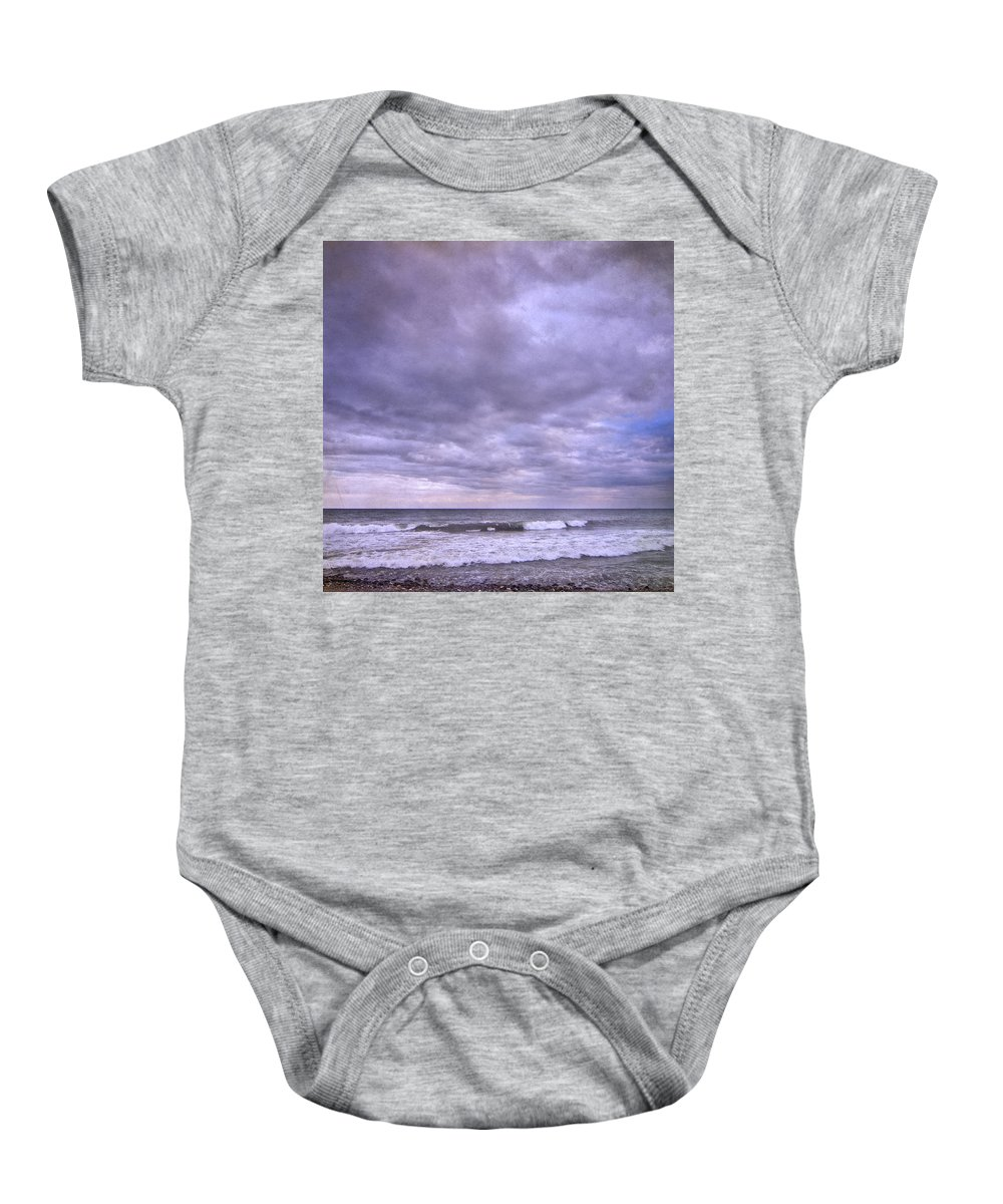 Landscape Baby Onesie featuring the photograph Purple Sunset At The Beach by Guido Montanes Castillo