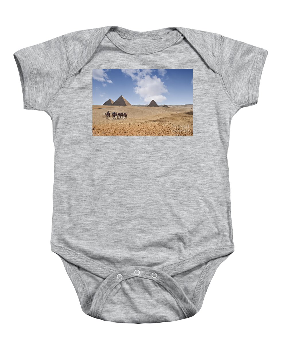 Giza Plateau Baby Onesie featuring the photograph Pyramids Of Giza by Sophie McAulay