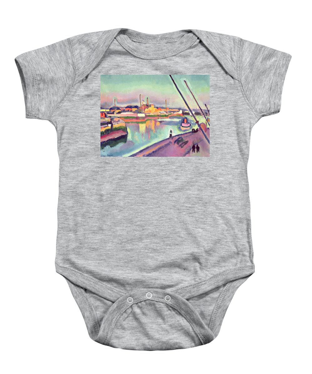Boat Baby Onesie featuring the painting Quai Notre Dame Le Havre by Georges Dupuis