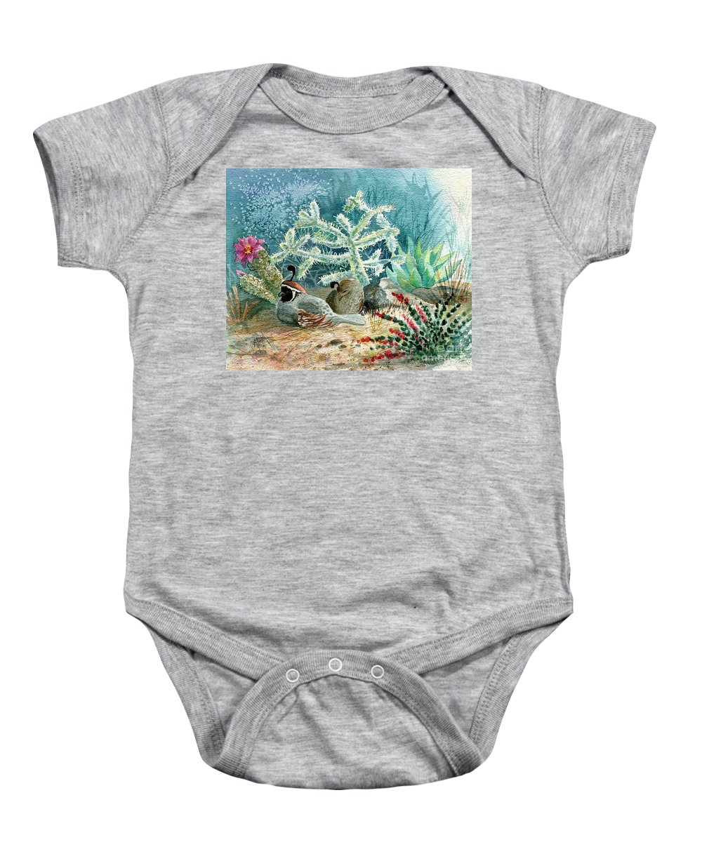 Gambel's Quail Baby Onesie featuring the painting Quail At Rest by Marilyn Smith