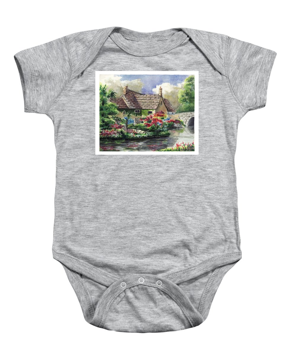 House Baby Onesie featuring the painting Quiet House Along The River by Alban Dizdari