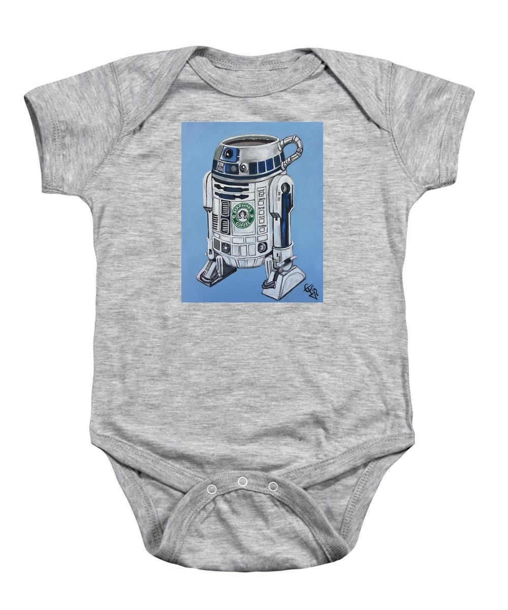 R2d2 Baby Onesie featuring the painting R2decaf by Tom Carlton