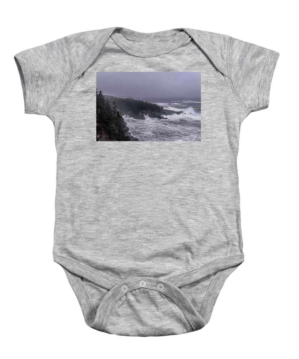 Lighthouses Photographs Baby Onesie featuring the photograph Raging Fury At Quoddy by Marty Saccone