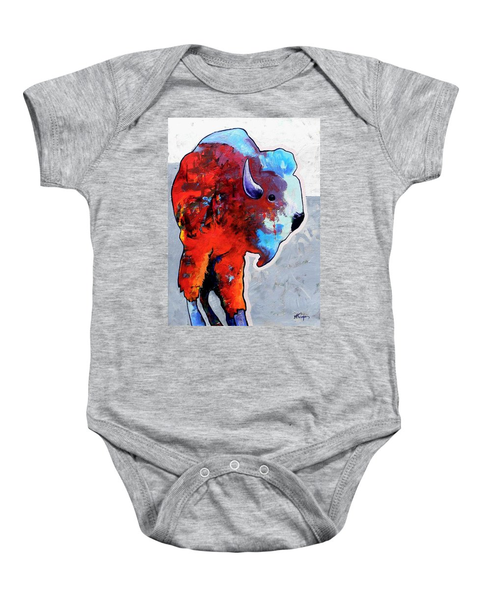 Wildlife Baby Onesie featuring the painting Rainbow Warrior Bison by Joe Triano