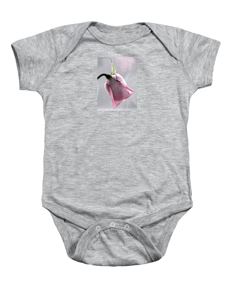 Roses Baby Onesie featuring the photograph Raindrops On Roses by Angela Davies