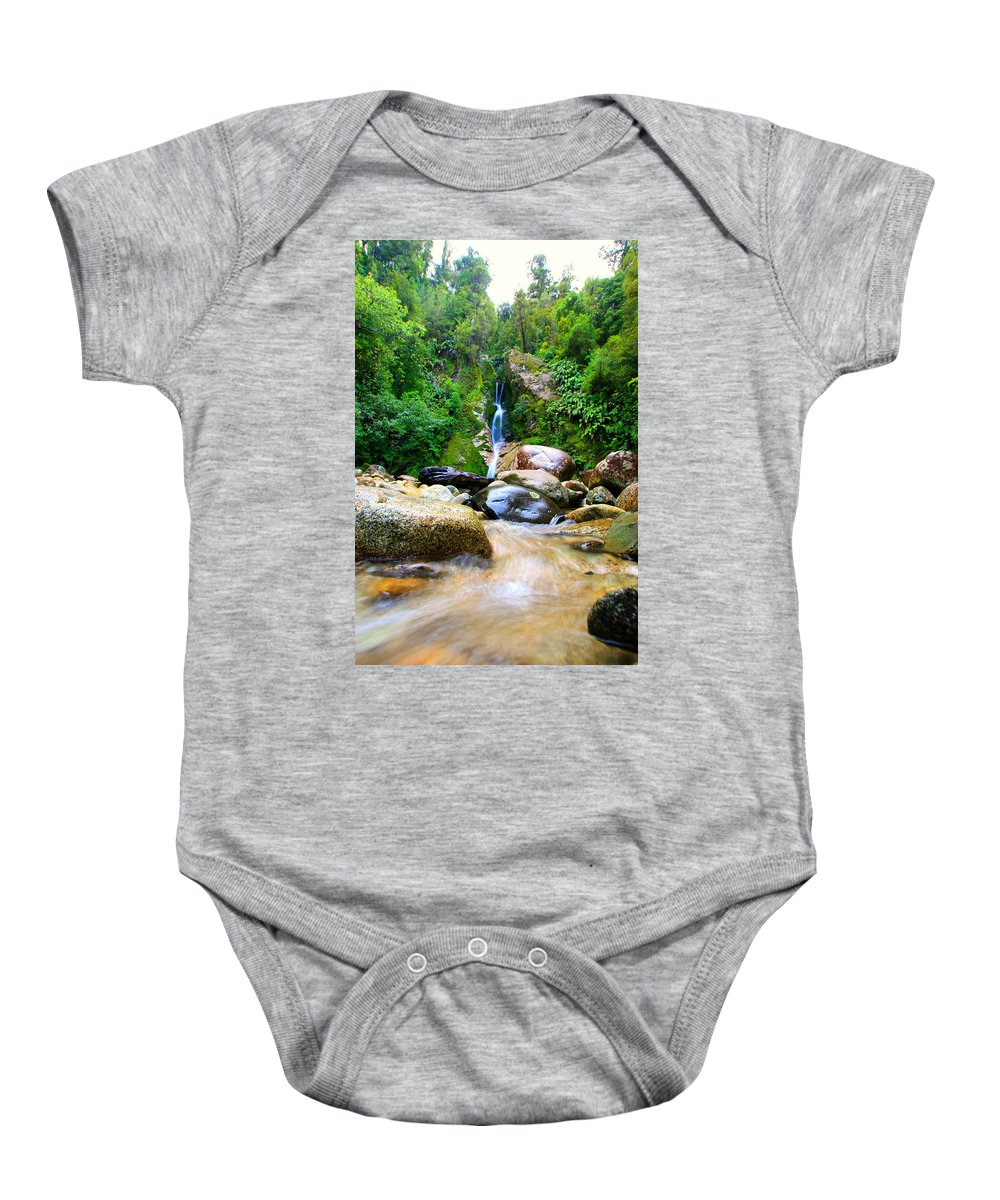 Waterfall Baby Onesie featuring the photograph Rainforest Stream New Zealand by Amanda Stadther