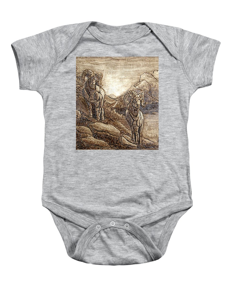 Balsawood Relief Art Baby Onesie featuring the mixed media Rams Relief by Wendy McKennon