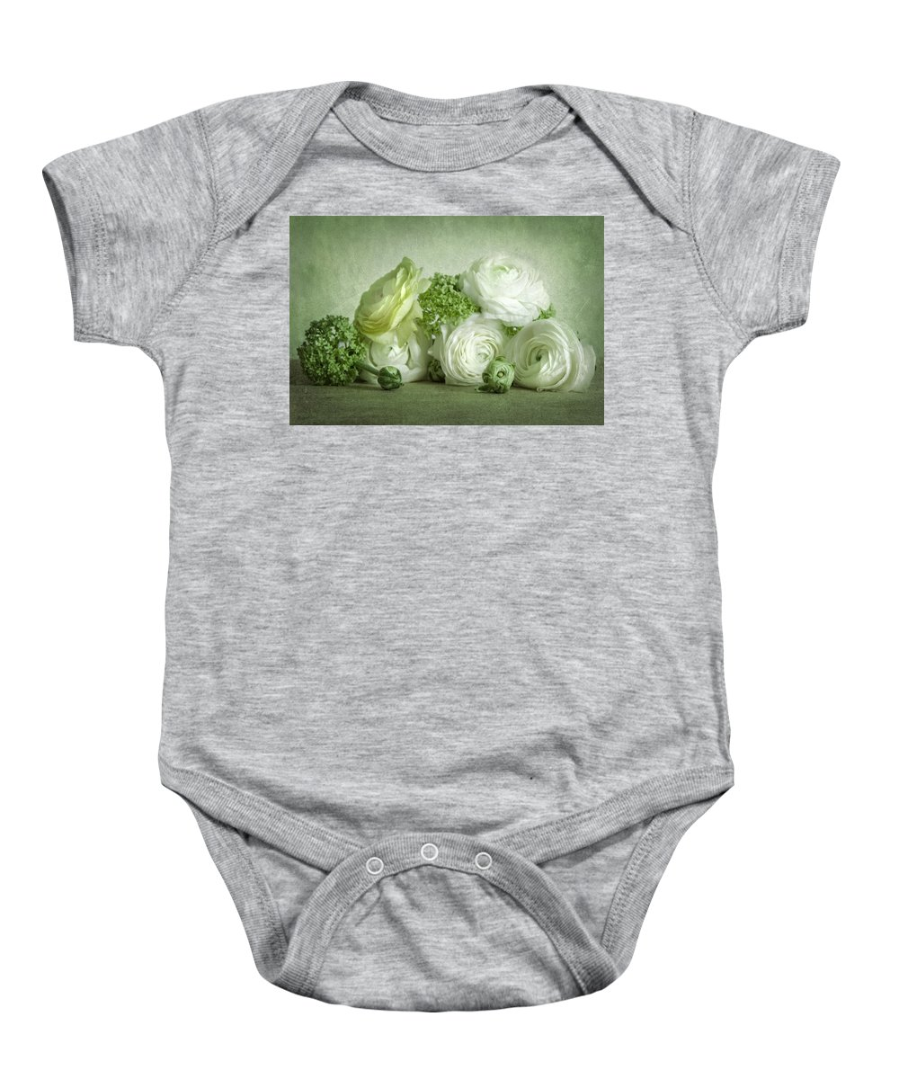 Weis Baby Onesie featuring the pyrography Ranunkel by Steffen Gierok