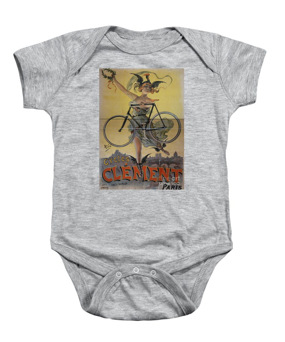 Vintage Baby Onesie featuring the photograph Rare Vintage Paris Cycle Poster by Edward Fielding