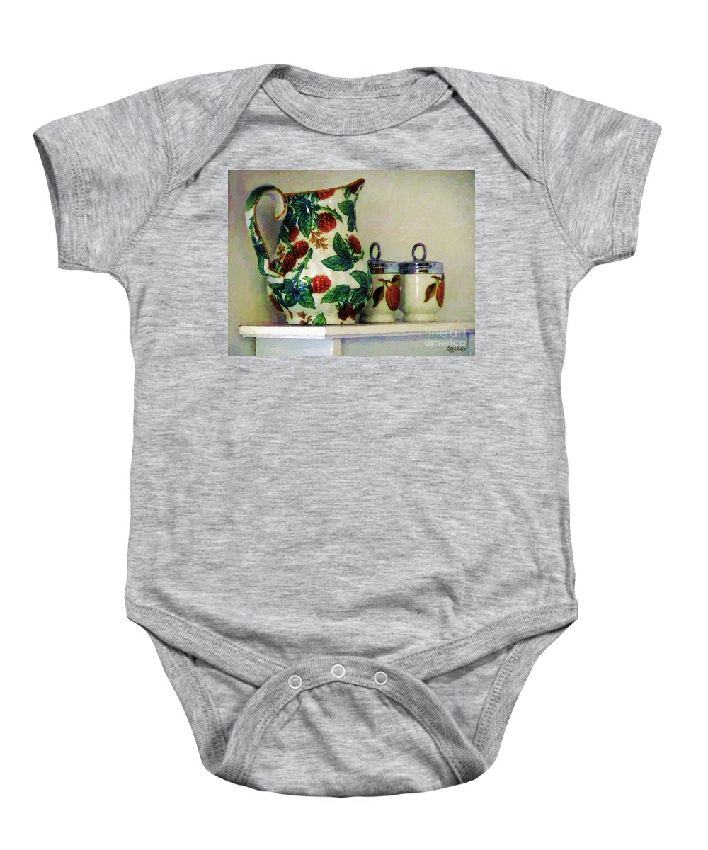 Pitcher Baby Onesie featuring the painting Raspberry Pitcher by RC DeWinter