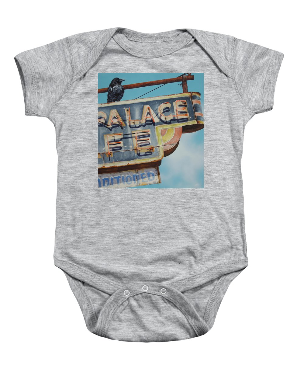 Baby Onesie featuring the painting Raven And Palace by Greg and Linda Halom