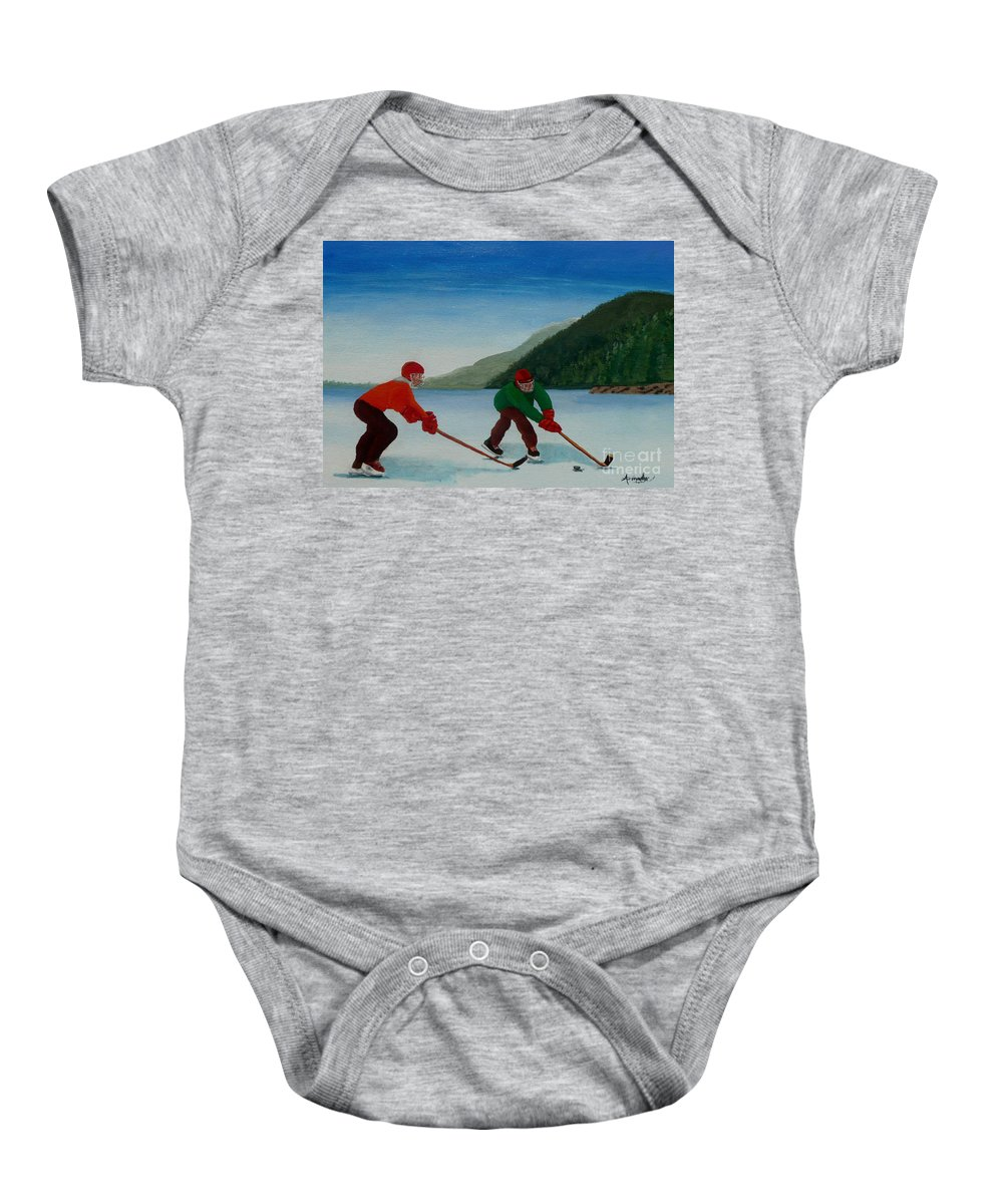 Pond Baby Onesie featuring the painting Reach For It by Anthony Dunphy