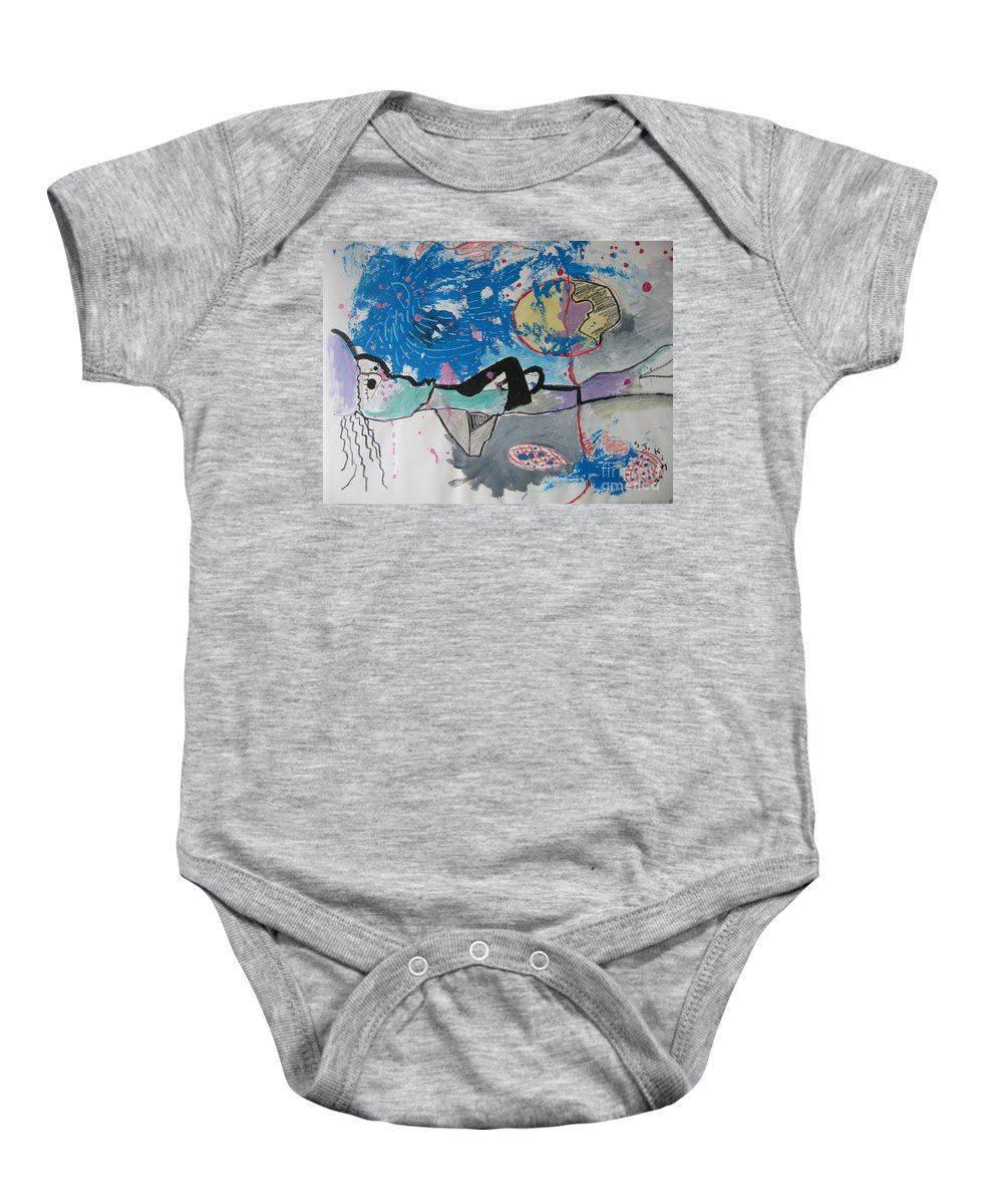 Abstract Paintings Baby Onesie featuring the painting Read My Mind2 by Seon-Jeong Kim