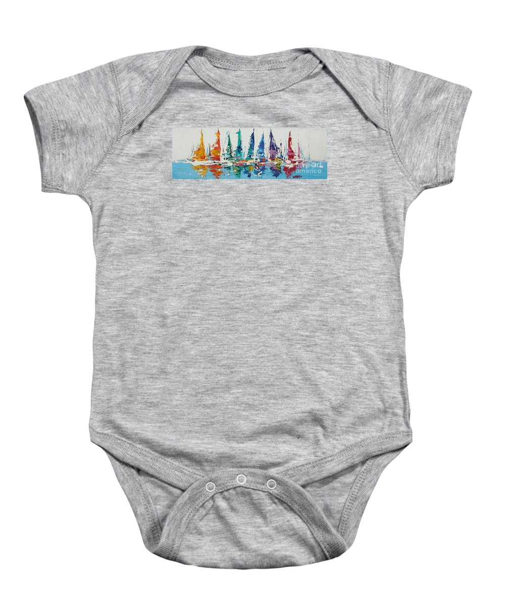 Sailing Baby Onesie featuring the painting Ready Set Sail by Dan Campbell