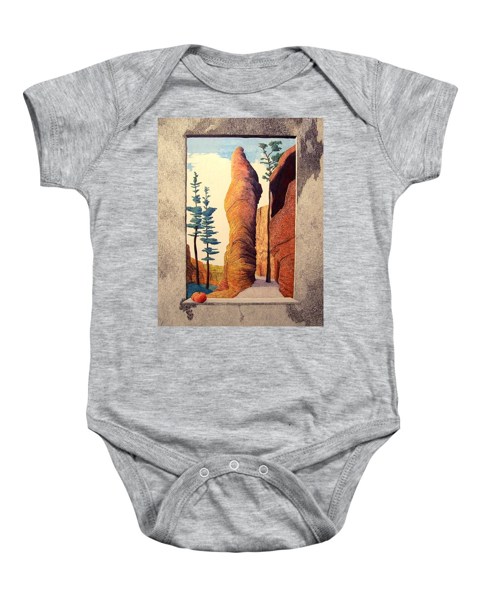 Landscape Baby Onesie featuring the painting Reared Window by A Robert Malcom