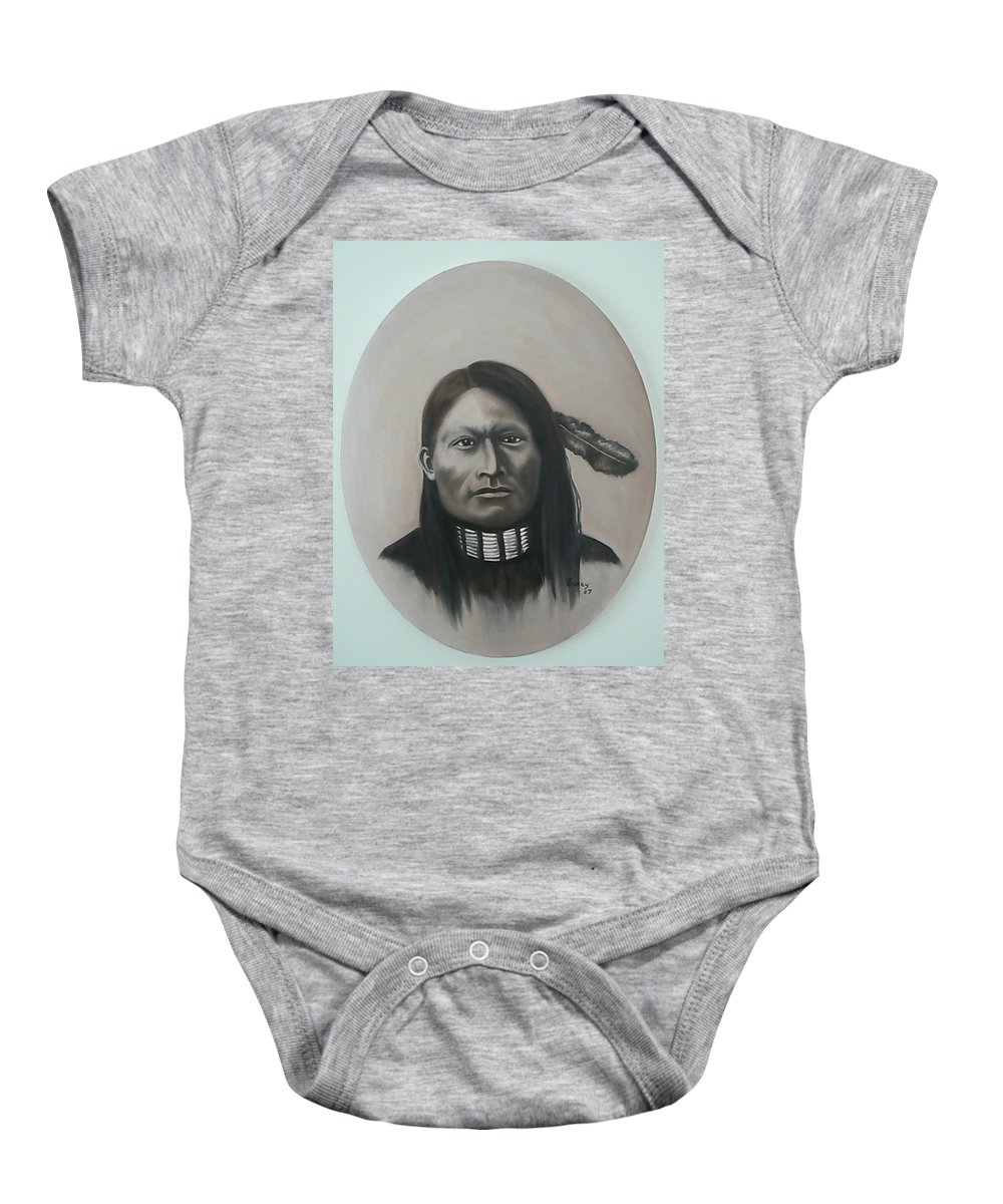 Michael Baby Onesie featuring the painting Red Armed Panther by Michael TMAD Finney